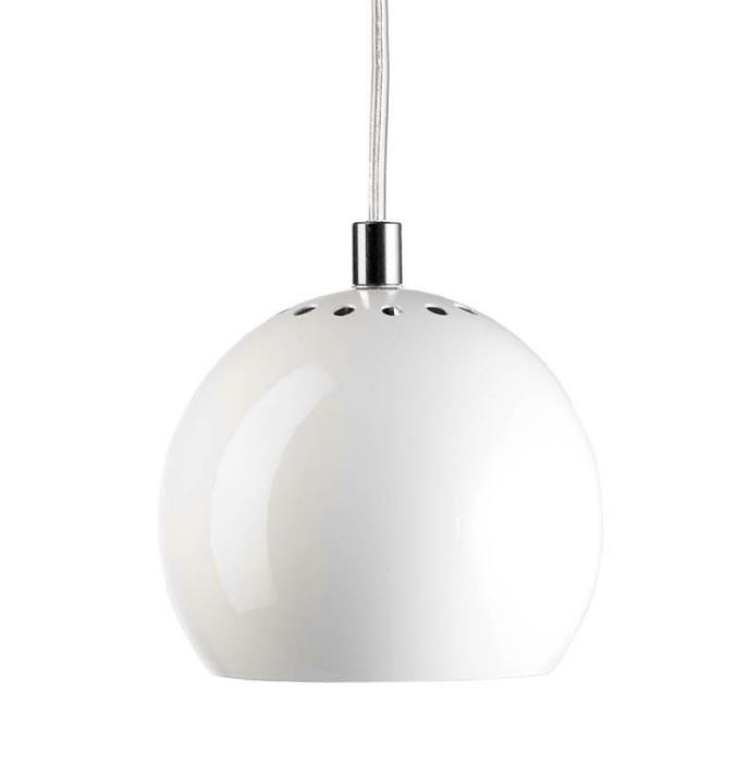 Ball Pendel Diameter 18 cm hvid transparent ledning